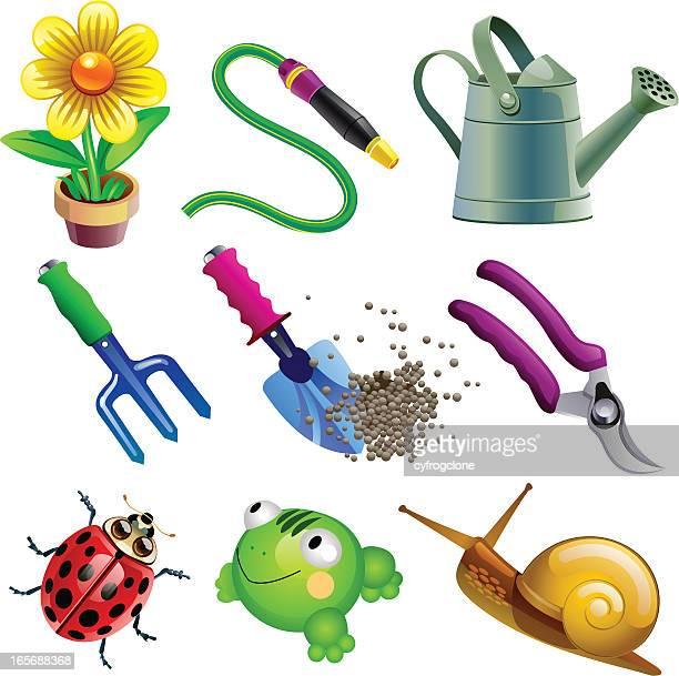 ilustrações de stock, clip art, desenhos animados e ícones de jardim - caracol de jardim