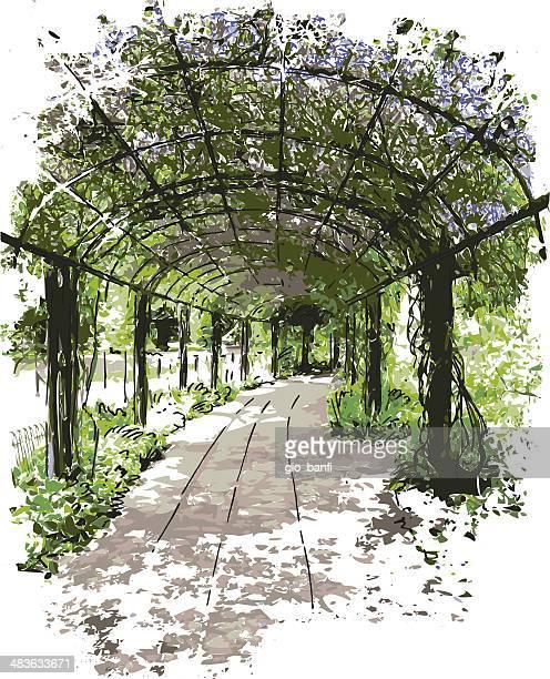 garden - gazebo stock illustrations
