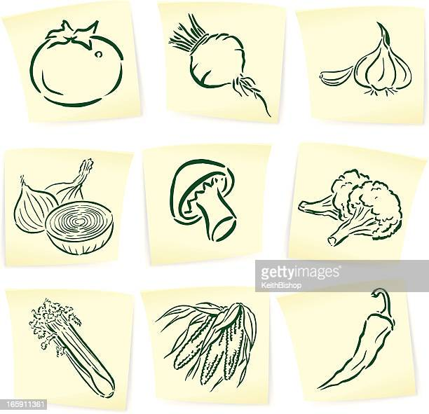garden vegetable doodles on sticky notes - onion stock illustrations, clip art, cartoons, & icons