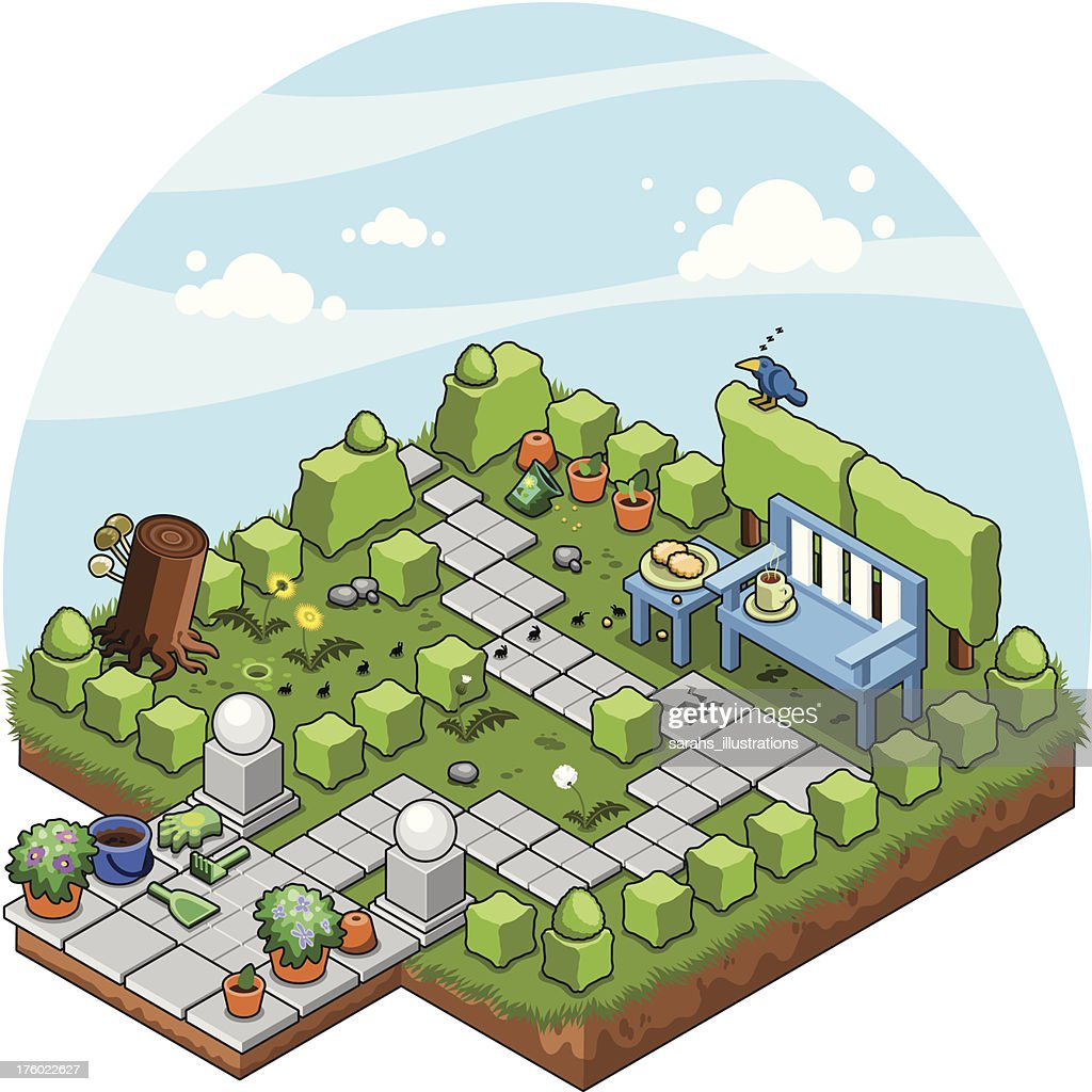 garden with cube-cut shrubs and bench (isometric view vector)
