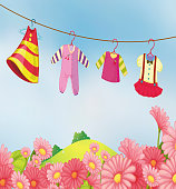 garden with hanging clothes for the baby