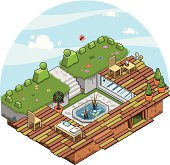 Garden with secret entrance in isometric view (vector)