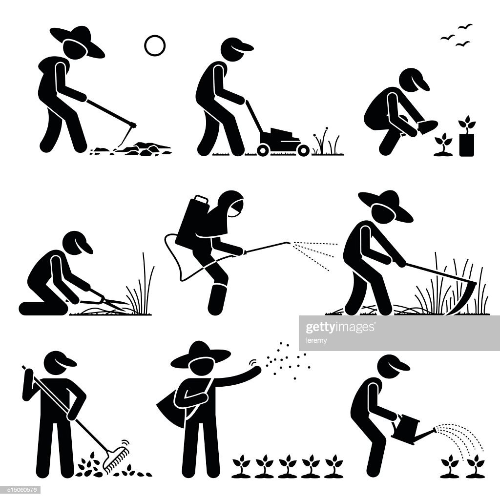 Gardener and Farmer using Gardening Tools and Equipment