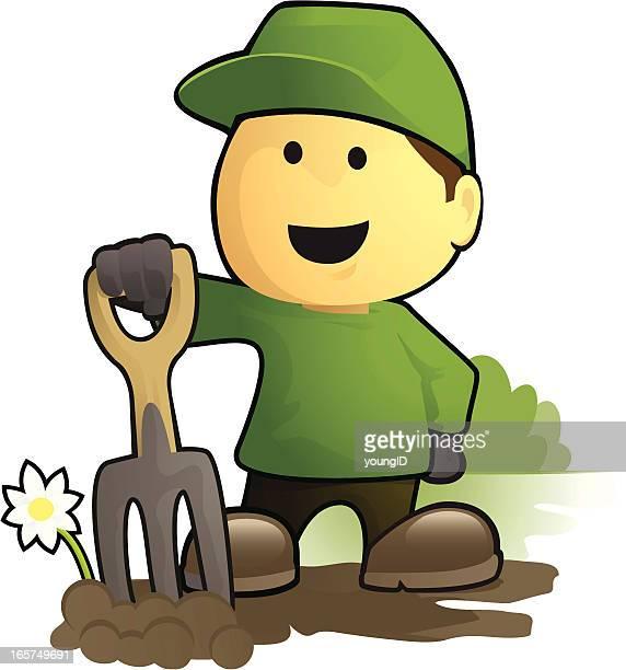 gardener and garden fork - landscape gardener stock illustrations, clip art, cartoons, & icons