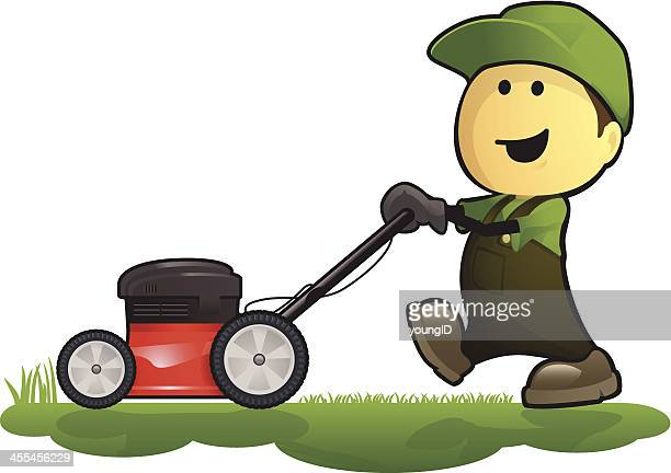 Gardener and Lawn Mower