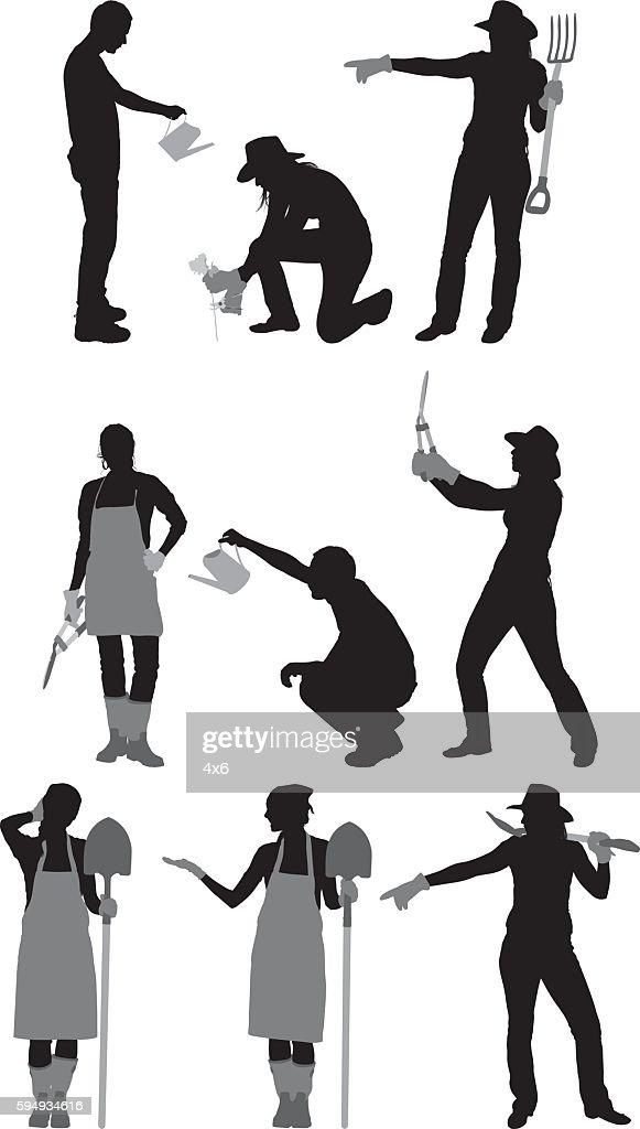 Gardener in various actions : Ilustração