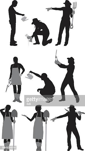 gardener in various actions - leaf blower stock-grafiken, -clipart, -cartoons und -symbole