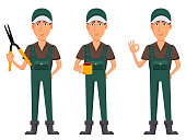 Gardener man, cartoon character in uniform