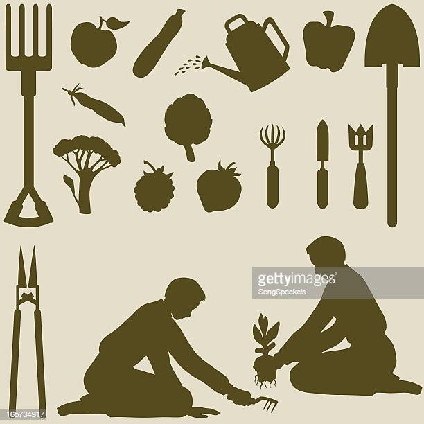 gardener planting silhouettes - hedge clippers stock illustrations, clip art, cartoons, & icons
