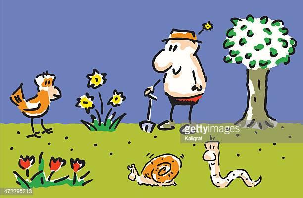 gardener - landscape gardener stock illustrations, clip art, cartoons, & icons