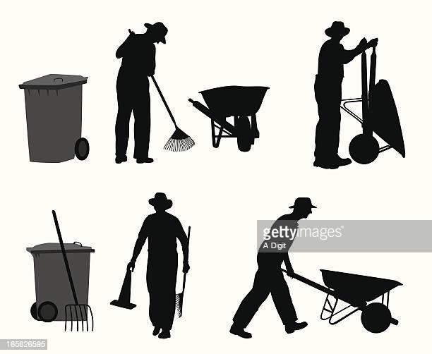 gardener vector silhouette - wheelbarrow stock illustrations, clip art, cartoons, & icons