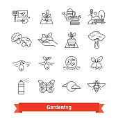 Gardening and horticulture. Thin line icons set