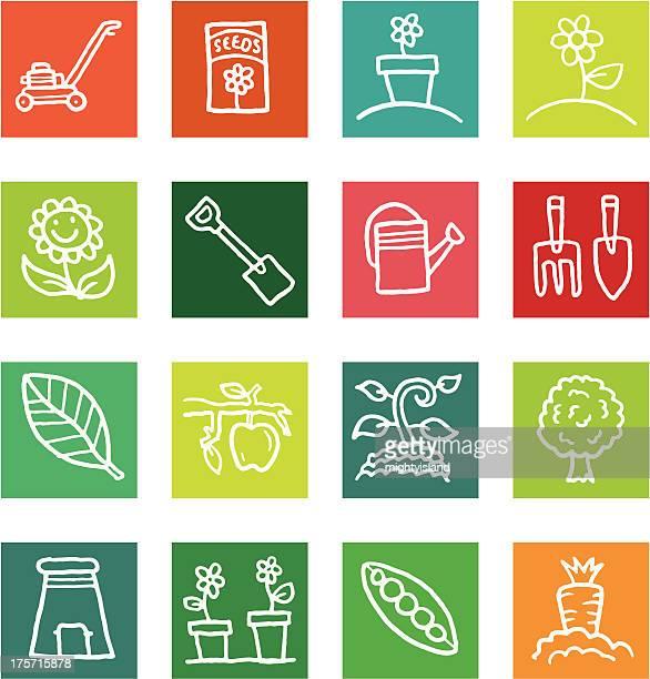 Gardening and nature block icon set