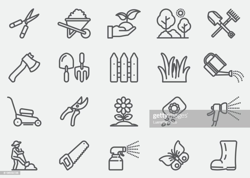 Gardening and Seeding Line Icons