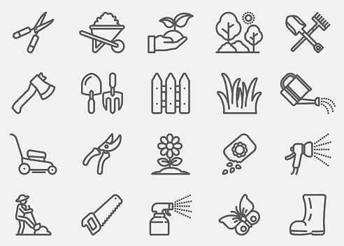 Gardening and Seeding Line Icons - gettyimageskorea
