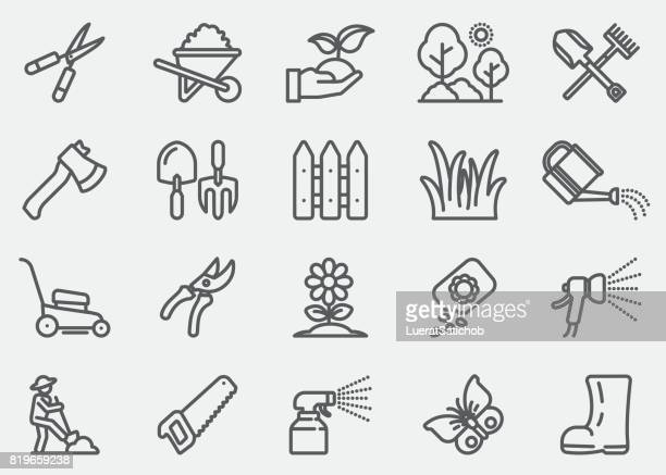 gardening and seeding line icons - watering can stock illustrations