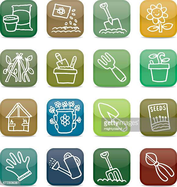gardening app style icon set - gardening glove stock illustrations, clip art, cartoons, & icons