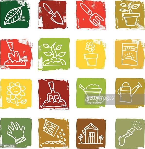 gardening block icons - seedling stock illustrations