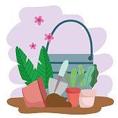 gardening bucket plants pot shovel soil