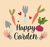 gardening carrots rake shovel gloves beetroot