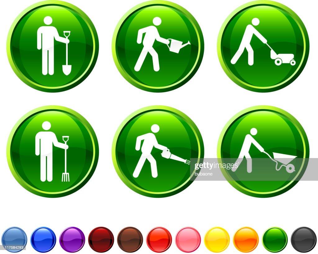 gardening chores royalty free vector icon set : stock illustration