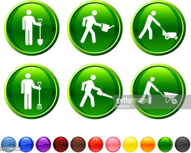 gardening chores royalty free vector icon set - leaf blower stock illustrations
