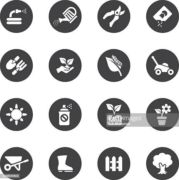 Gardening Circle Silhouette icons   EPS10