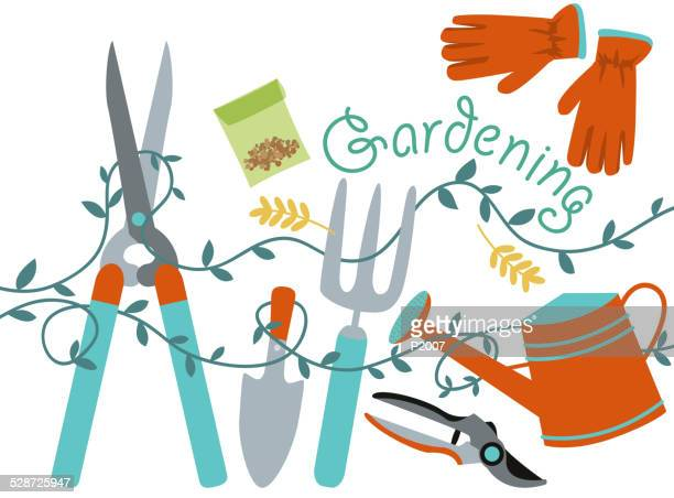 gardening design element - gardening stock illustrations