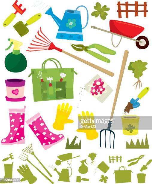 gardening design elements - earthenware stock illustrations, clip art, cartoons, & icons