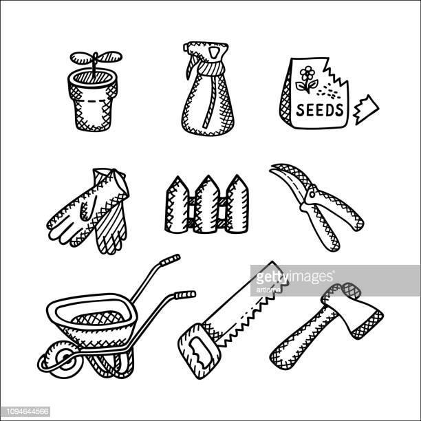 gardening doodle set - gardening glove stock illustrations, clip art, cartoons, & icons