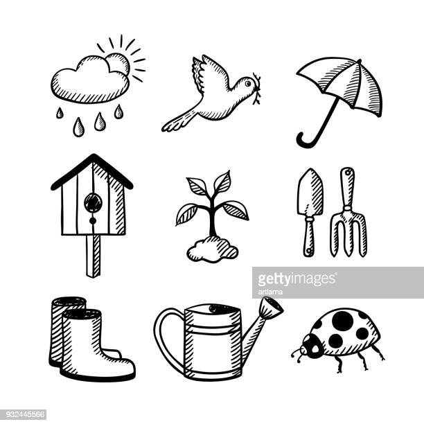 gardening doodle set - watering can stock illustrations