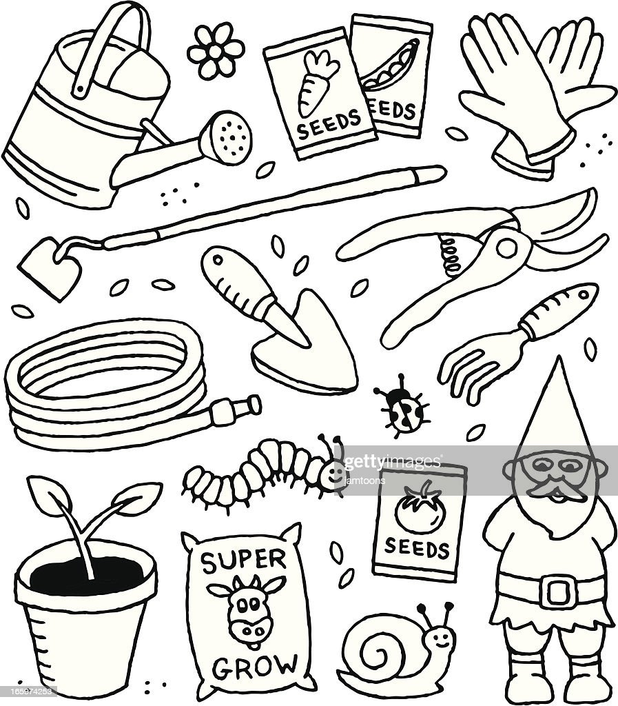 Gardening Doodles : stock illustration