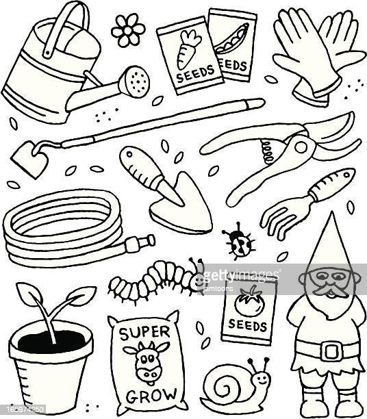 gardening doodles - watering can stock illustrations