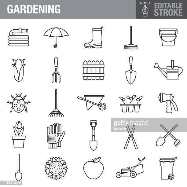 gardening editable stroke icon set - watering can stock illustrations