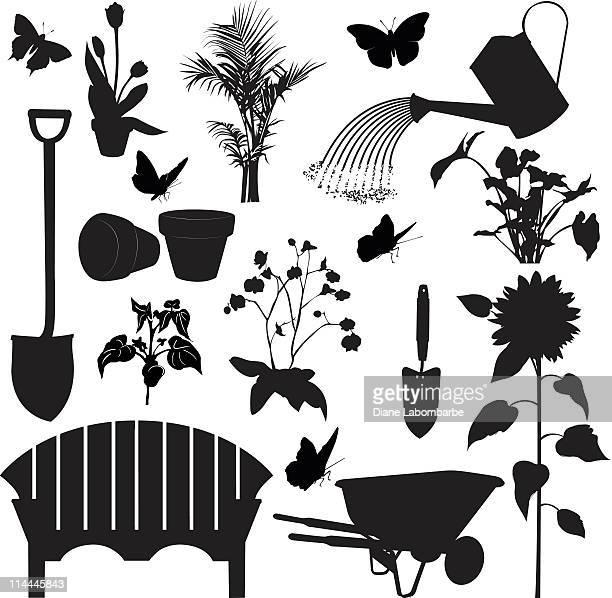 ガーデニングツールがシルエットを含む、植物、ベンチ、手押し車 - 逆光点のイラスト素材/クリップアート素材/マンガ素材/アイコン素材