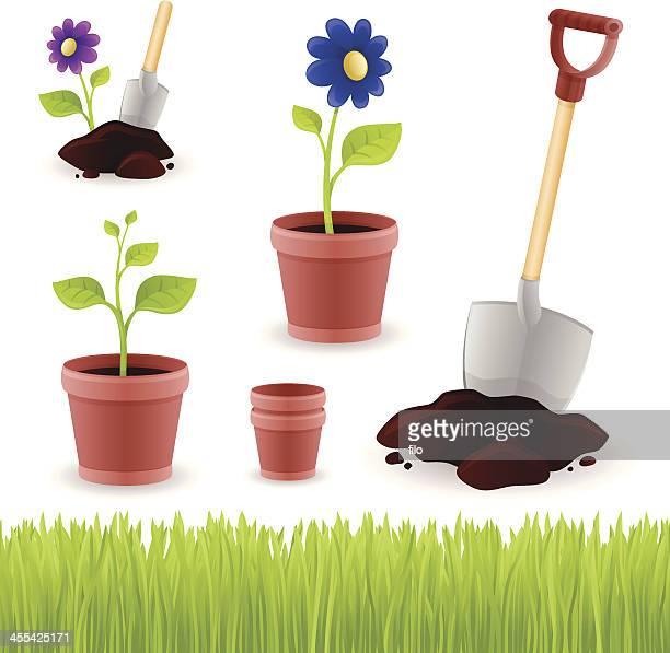 gardening elements - trowel stock illustrations, clip art, cartoons, & icons