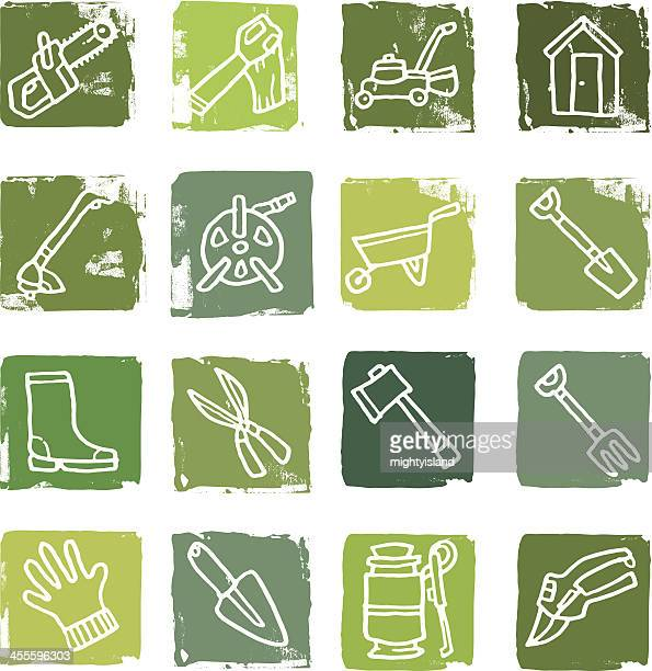 gardening equipment icon blocks - weed wacker stock illustrations, clip art, cartoons, & icons