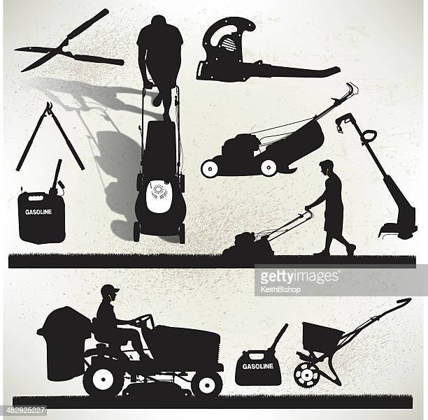 gardening equipment - lawn mower - leaf blower stock illustrations