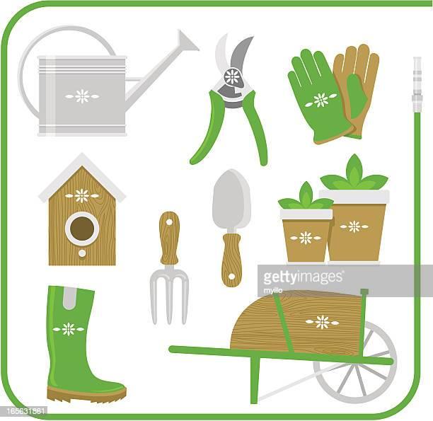 gardening equipment set work tool vector illustration - gardening glove stock illustrations, clip art, cartoons, & icons