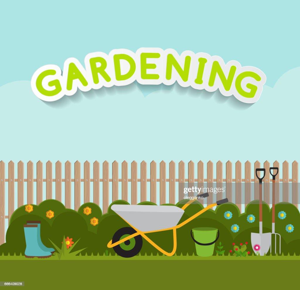 Gardening Flat Background Vector Illustration. Garden Tools, Tre