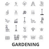 Gardening, flower, garden tools, vegetable, grass, landscape, plant, park, tree line icons. Editable strokes. Flat design vector illustration symbol concept. Linear signs isolated