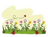 gardening flowers flying ladybirds grass cartoon