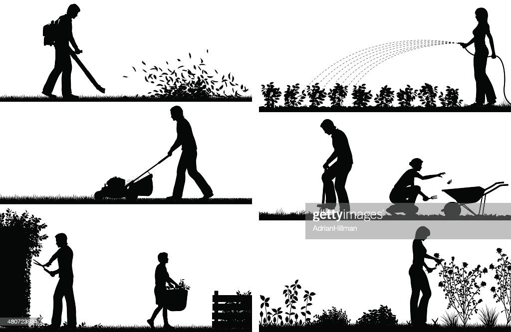 Gardening foreground silhouettes
