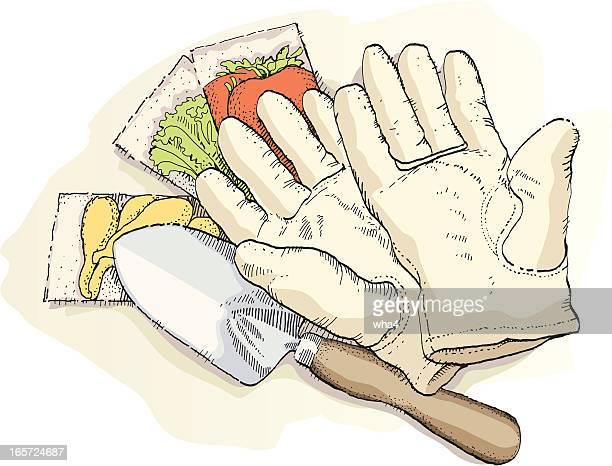 gardening gear - gardening glove stock illustrations, clip art, cartoons, & icons