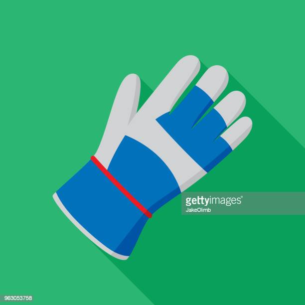 gardening glove icon flat - gardening glove stock illustrations, clip art, cartoons, & icons