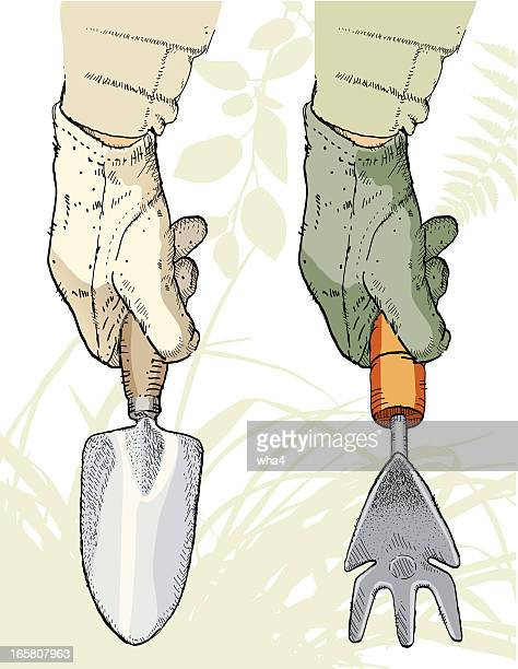 gardening gloves and trowels - gardening glove stock illustrations, clip art, cartoons, & icons