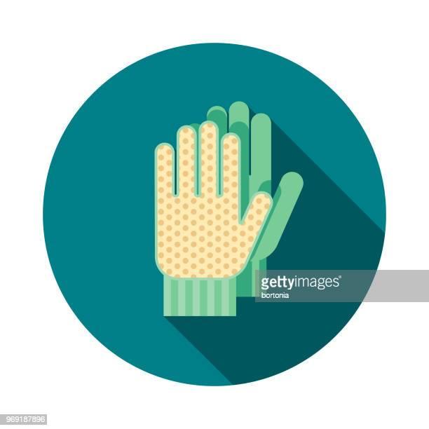gardening gloves flat design springtime icon - gardening glove stock illustrations, clip art, cartoons, & icons
