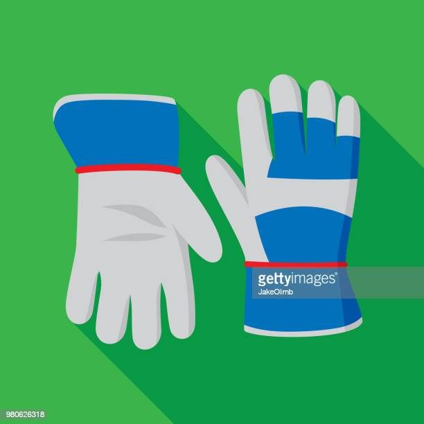 gardening gloves icon flat - glove stock illustrations