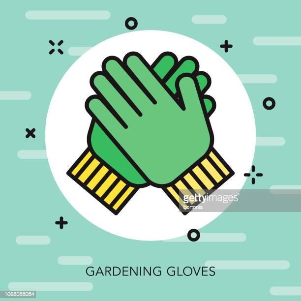 gardening gloves thin line spring icon - gardening glove stock illustrations, clip art, cartoons, & icons