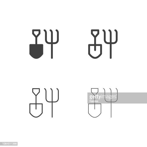 gardening hand tool icons - multi series - harrow agricultural equipment stock illustrations, clip art, cartoons, & icons